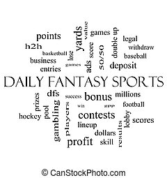 Daily Fantasy Sports Word Cloud Concept in black and white