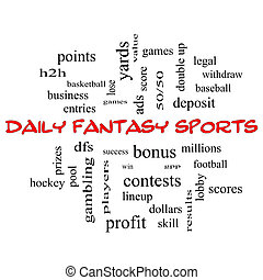 Daily Fantasy Sports Word Cloud Concept in red caps