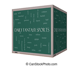Daily Fantasy Sports Word Cloud Concept on a 3D Blackboard