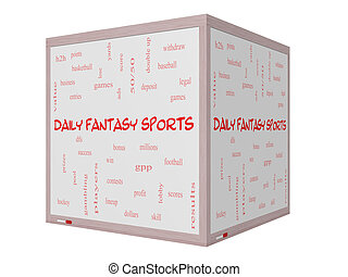 Daily Fantasy Sports Word Cloud Concept on a 3D Whiteboard