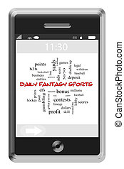 Daily Fantasy Sports Word Cloud Concept on a Touchscreen Phone