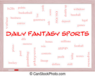 Daily Fantasy Sports Word Cloud Concept on a Whiteboard