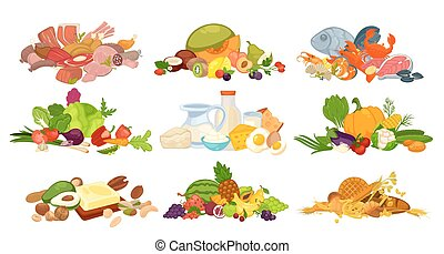 Daily food products of bread, dairy, vegetables, fruits and...