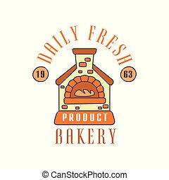 Daily fresh bakery product logo template, estd 1963, bread shop badge retro food label design vector Illustration