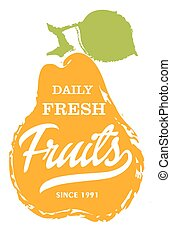 Daily fresh fruits hand drawn isolated label