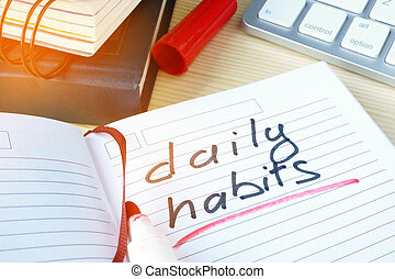 Daily habits written in a note.