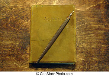 Daily Journal - Leather bound journal with fountain pen.