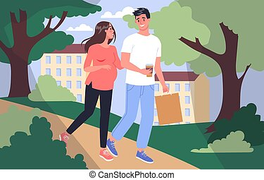 Daily life during pregnancy. Young woman preparing to be mom. Young woman walking in the park with husband. Baby awaiting. Pregnant woman with a big belly. Isolated vector illustration