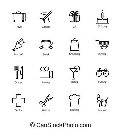 Daily life icons. Vector illustration