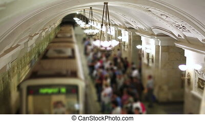 Daily life Moscow metro passengers