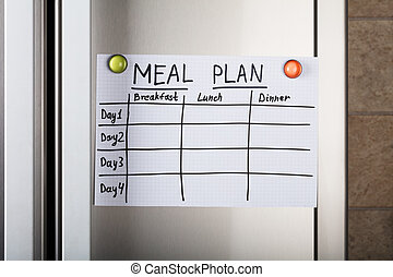 Daily Meal Plan Paper Attached With Magnetic Thumbtacks
