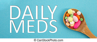 Daily meds text with spoon full of medicine