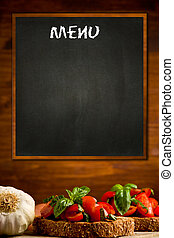 Daily Menu - photo of blackboard with bruschetta appetizer...