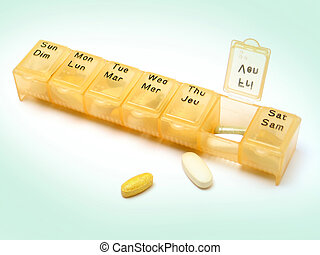 Daily Pills 3 - A daily pill container filled with various...