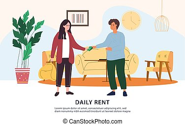 Daily rent payment concept in cash with money changing hands between tenant and landlord, colored vector illustration