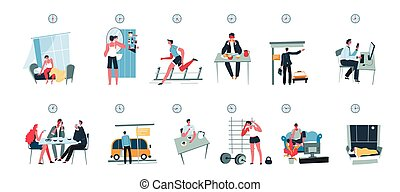 Daily routine of character, schedule of day vector - Routine...