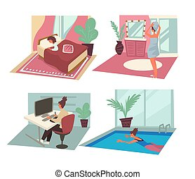 Daily routine of woman with personal and career activities...