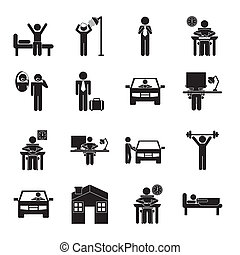 daily routine over  background, vector illustration