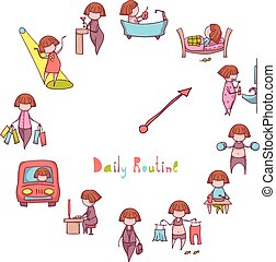 Daily Routine. Vector set with funny girl