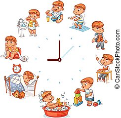 Daily routine with simple watches. Vector set with baby boy...