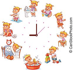 Daily routine with simple watches. Vector set with baby girl. Funny cartoon character. Vector illustration. Isolated on white background