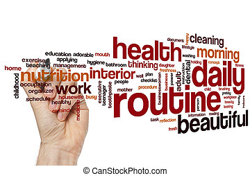 Daily routine word cloud