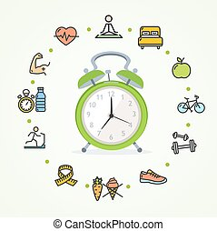 Daily Routines Fittness Concept Healthy Life. Vector