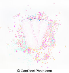 Daily sanitary napkins on white pearl background