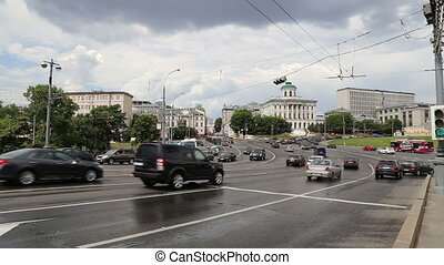 Daily traffic on the streets,Moscow