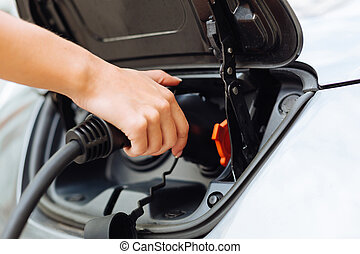 Dainty female hands charging an electric car