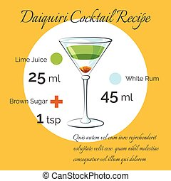 Daiquiri cocktail vector receipt poster