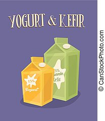 Dairy banner with kefir and yoghurt packages - Dairy banner...