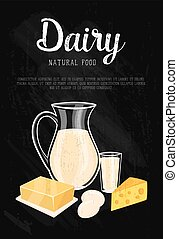 Dairy banner with natural food composition