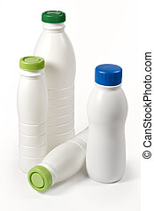 Dairy bottles - Plastic dairy bottles isolated on a white...
