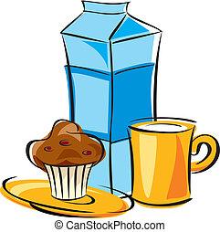 dairy breakfast - vector image breakfast of milk and cake