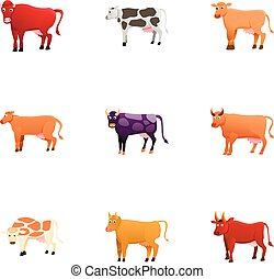 Dairy cattle icon set, cartoon style