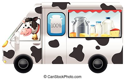Dairy cow in a truck