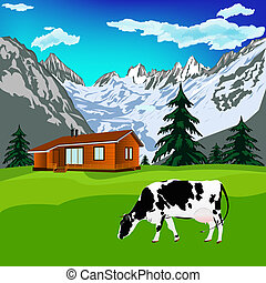 Alps landscape - Dairy cow on a alps mountains green meadow...