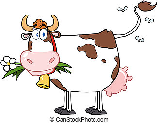 Dairy Cow With Flower In Mouth Cartoon Character