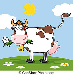 Cow With Flower In Mouth - Dairy Cow With Flower In Mouth On...