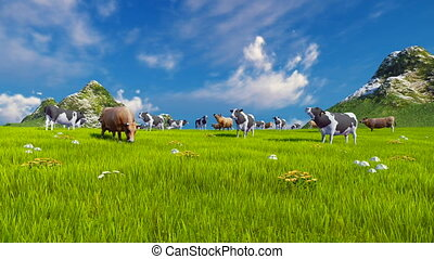 Herd of dairy cows graze on a green alpine meadow with mountain peaks on the background at sunny day. Sliding upward shot. Realistic 3D animation.