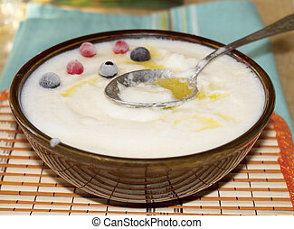 Dairy cream of wheat with fruit berries