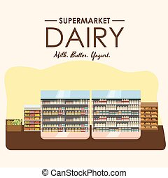 dairy department, milk shelf with fresh healthy food in...
