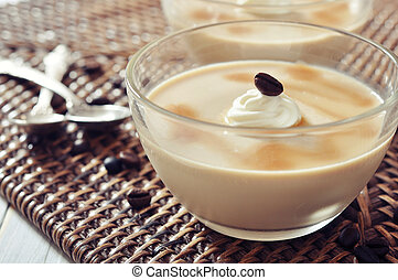 Dairy dessert with coffee flavor