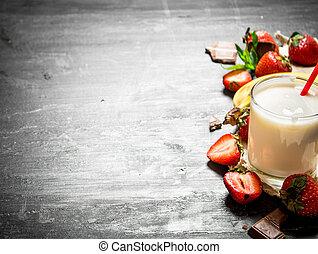 Dairy dessert with strawberries and banana.