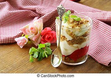 dairy dessert with strawberries