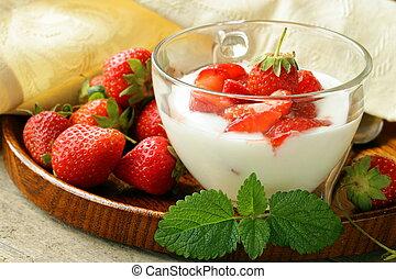dairy dessert - yogurt strawberries - dairy dessert - yogurt...
