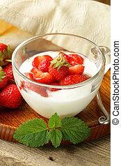 dairy dessert - yogurt strawberries