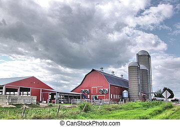 A dairy farm against a cloudy sky