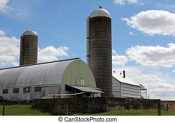 Dairy farm with silos in rural Pennsylvania.